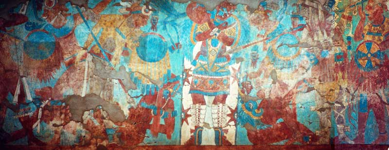 Battle scene in Mayan murals at Cacaxtla
